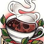 4 x 6 inch Death Before Decaf Coffee Skull Art Print