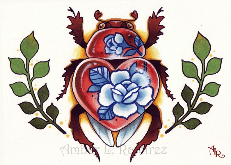 7 x 5 inch Love Bug with China Blue Rose Tattoos Art Print | Etsy