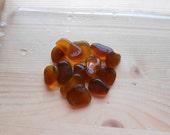 Brown amber genuine sea glass, beach glass 13 pieces , jewelry making, mosaic, sea glass art, fairy garden, beach decor, crafting. Lotto7