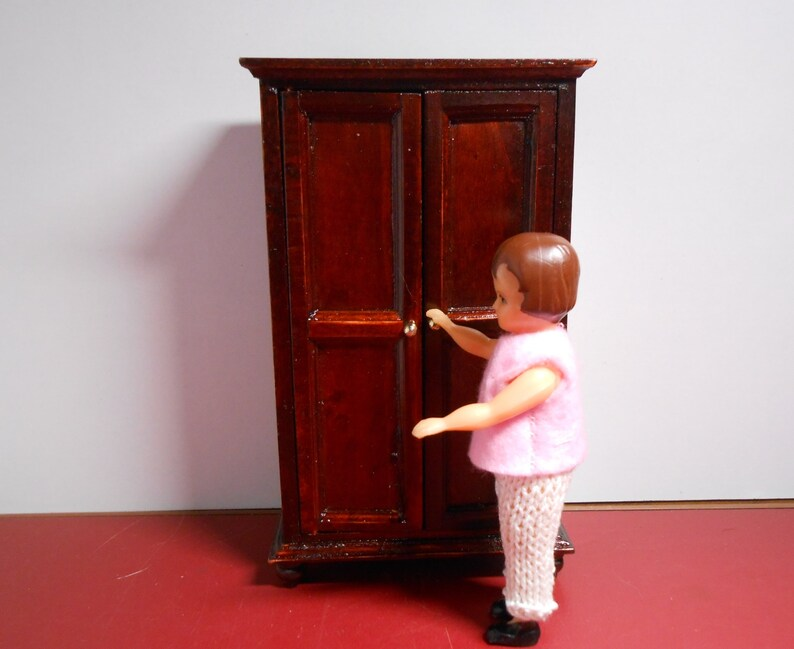 Stupendous Wooden Dollhouse Furniture Wardrobe Closet Miniatures 1 12 Scale Vintage Dollhouse Furnishings Doll House Wood Cabinet Armoire Download Free Architecture Designs Scobabritishbridgeorg