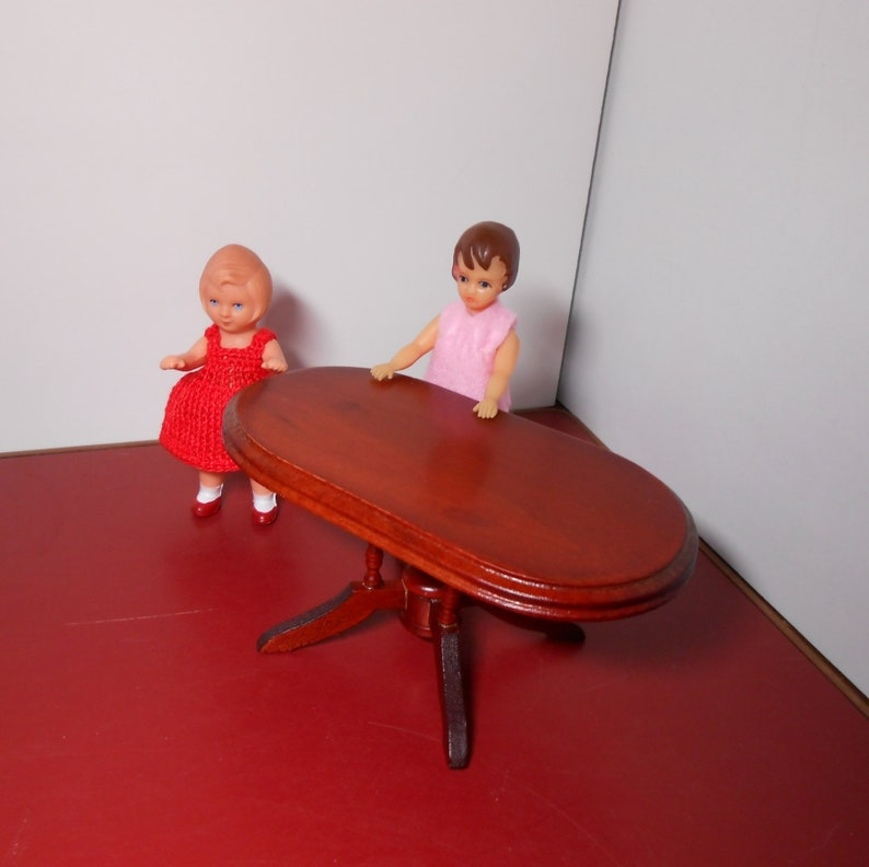 Super Wooden Dollhouse Furniture Oval Table Miniatures 1 12 Scale Vintage Dollhouse Furnishings Doll House Wood Table Imperfect Read More Download Free Architecture Designs Scobabritishbridgeorg