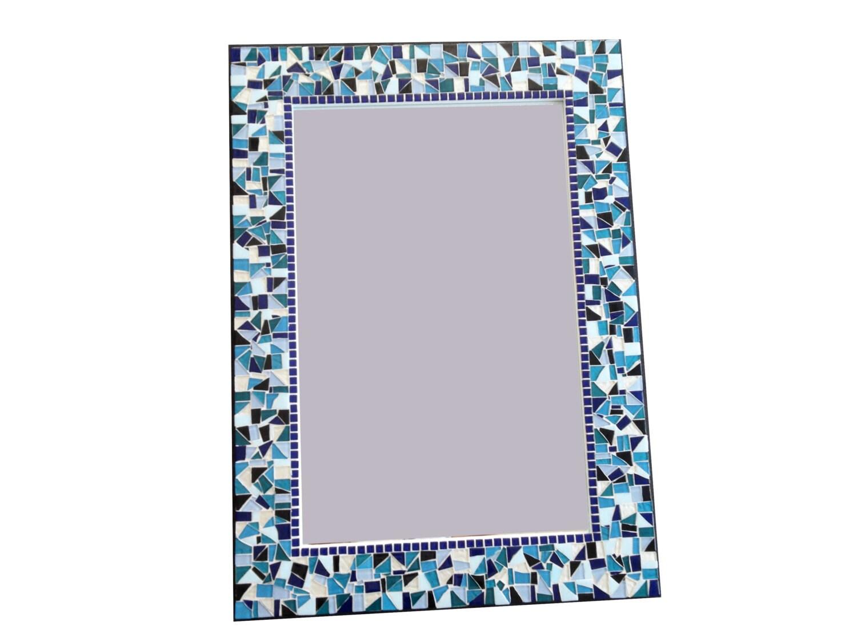 Rectangular Mosaic Mirror Large Wall Mirror Teal Black | Etsy
