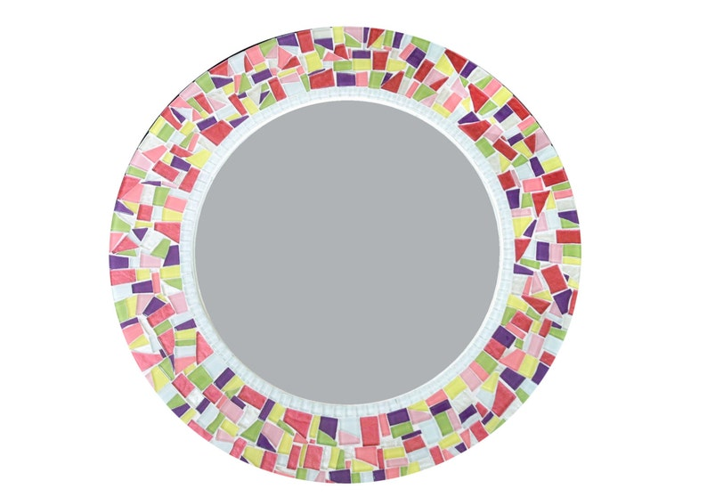 Colorful Round Wall Mirror Mosaic Mirror Kids Decor