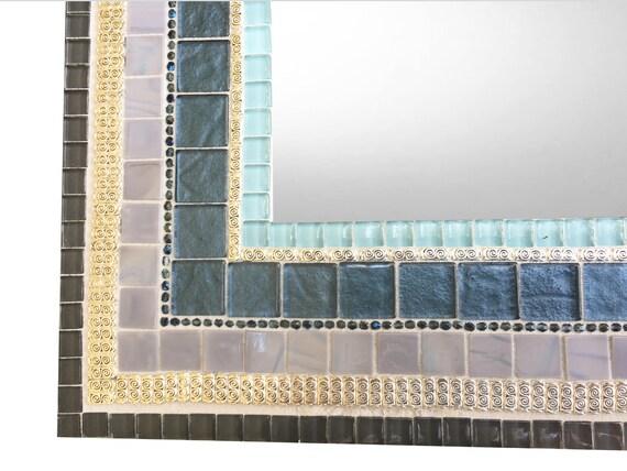 Miroir mosaïque de miroir salle de bain, bleu et gris, grand mur miroir
