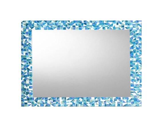 Miroir de salle de bain, mosaïque mur miroir, bleu Aqua Turquoise Teal,  décor de maison de plage