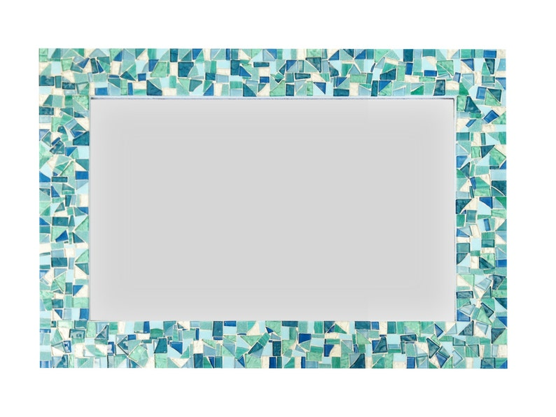 Outstanding Mirror For Beach House Mosaic Wall Mirror In Sea Foam Green Aqua Turquoise And White Bathroom Mirror Download Free Architecture Designs Itiscsunscenecom