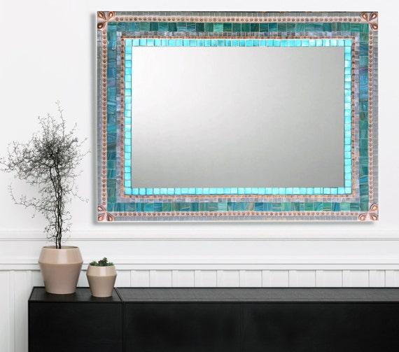 Large Wall Mirror Mosaic Aqua, Large Wall Mirrors For Bathroom