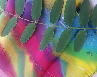 Musical Hand-painted Silk Scarf, Light Blue Scarf, Pink Scarf, Yellow Scarf, Green Scarf, OOAK, Girls Silk scarf, Neck scarf, Hair Scarf