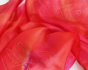 Red Scarf Orange Scarf Pink Scarf Silver Scarf Hand Painted Silk Scarf floral scarf designer scarf multicolour Woman Scarf Wrap