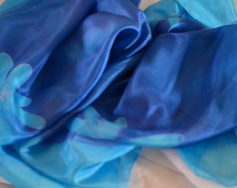 Hand-painted Square Silk Scarf, Blue Scarf, Light Blue Scarf, white Scarf, floral Scarf, drawing Scarf, OOAK, Elegant silk scarf, Woman Wrap
