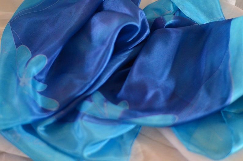 Hand-painted Square Silk Scarf Blue Scarf Light Blue Scarf image 0