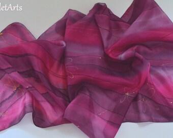 Pink silk scarf, Gold Scarf, Floral Scarf, Purple Scarf, Lilac Scarf, Violet wrap. Hand Painted Elegant silk scarf, OOAK, Woman Scarf
