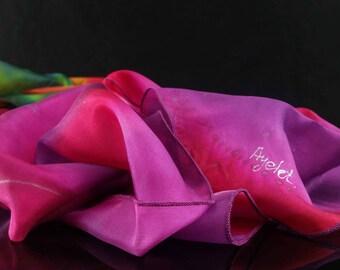 Hand Painted Silk Scarf, Purple Scarf, Pink Scarf, Elegant silk scarf, OOAK, Woman Scarf Wrap, lilac Scarf, Violet Scarf Galilee Scarf איילת