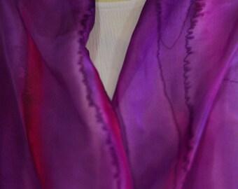 Hand Painted Silk Scarf, Purple Scarf, Pink Scarf, lilac Scarf, Violet Scarf, OOAK, Elegant silk scarf, Galilee workshop unique Silk scarf