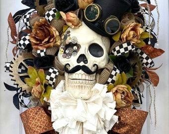 Halloween Wreath for Front Door - Steampunk Decor - Halloween Decorations - Wreath for Fall - Glam Decor - Swag Wreath - Fall Wreath - Skull