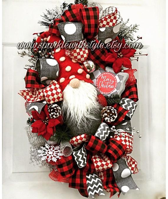 Christmas Gnome Decor.Christmas Gnome Swag Christmas Wreath Gnome Decoration Holiday Decor Wreath Deco Mesh Wreath