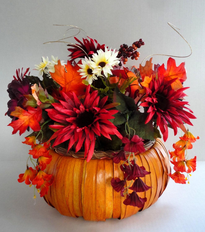 Fall Wedding Flowers List: Pumpkin Centerpiece Fall Centerpiece Holiday Decor