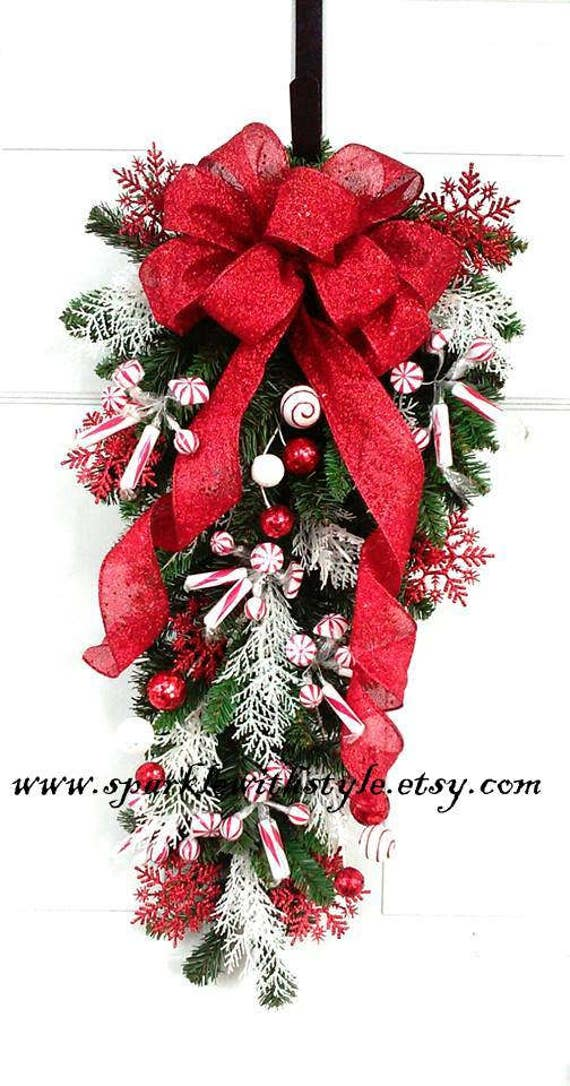 Christmas Swag Christmas Wreath Peppermint Swag Door Hanging Wall Decor Pine Garland Deco Mesh