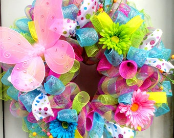 Spring Wreath - Spring Deco Mesh - Easter Deco Mesh Wreath - Deco Mesh Easter Wreath - Door Hanging - Wall Decor - Summer Wreath