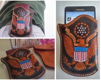 Patriotic Custom Leather Phone Holster Custom Personalized Orders Welcome iPhone Google Pixel Samsung Galaxy Android Apple