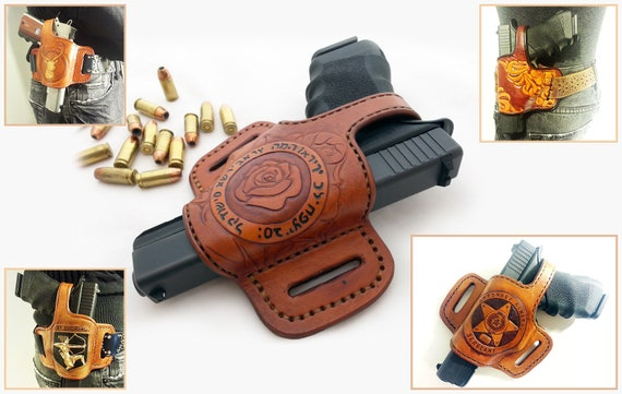 GLOCK Leather Holster with Thumb Break Fits 1911 Springfield XD Beretta M9  Custom Hand Made USA Tooled