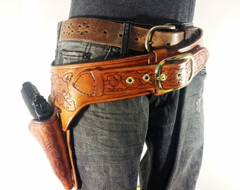 1911 GunFighter Belt and Holster Gun fighter Rig Gunslinger Belt Western Style Holster for GLOCK Revolver Colt Left Handed Shooter