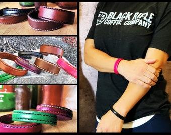 Leather Bracelet Custom Hand Made USA Cuff 1/2 - 3/4 - 1 inch widths