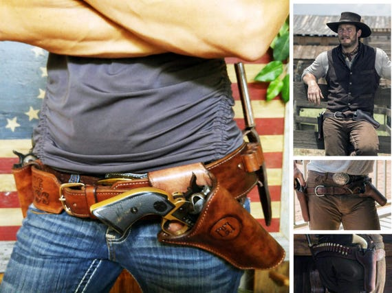 Chris Pratt Magnificent 7 Style GunFighter Rig with Ammo Loops for 1911 GLOCK Revolvers Left or Right Handed Leather Holster Gun Belt