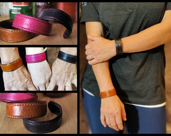 Custom Textured Leather Bracelet Hand Made USA Halloween Cuff 1/2 3/4 and 1 inch width