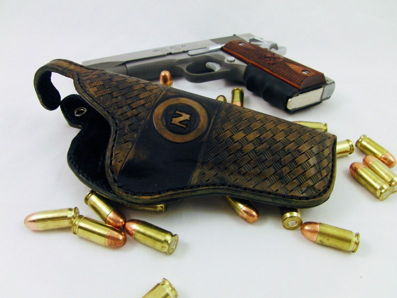 Rustic Leather Holster For Open Carry Form Fit 1911 GLOCK image 0