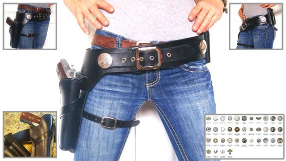 Gunfighter Rig With Solid Silver Wyatt Earp Conchos with Double Magazine Pouch 1911 GLOCK BERETTA M9 XD
