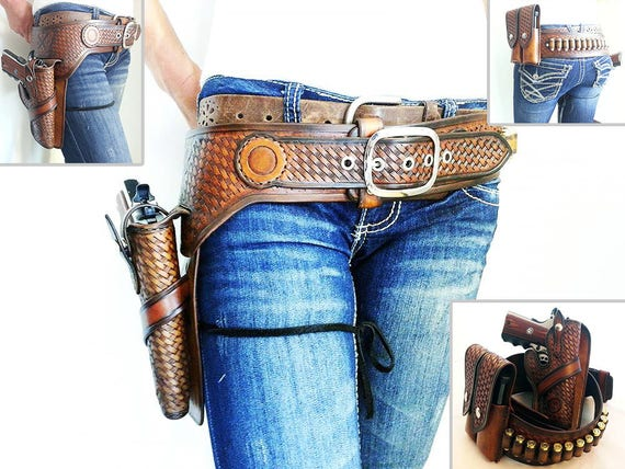 Rustic GunFighter Rig With Double Magazine Pouch and Ammo Loops saftey strap 1911 GLOCK Revolver Gunslinger Belt Western Leather Holster