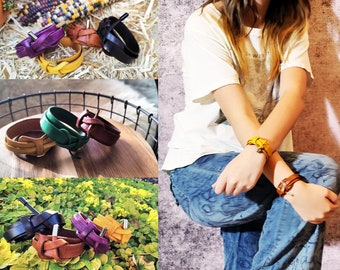 Leather Bracelet Wrap Around Wrap Around Style Hand Made In The USA