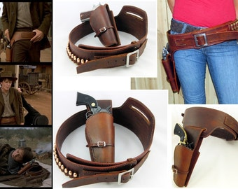 GunFighter Rig with Ammo Loops for 1911 GLOCK Revolver Left or Right Handed Leather Holster Back To The Future Style  Gun Belt