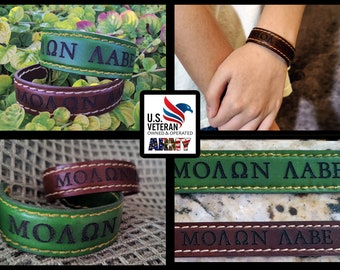 Molon Labe Leather and Stainless Steel Bracelet Hand Made USA Form Fit half inch 1 inch and 3/4 inch width