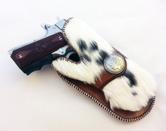 Open Carry Furry Holster 1911 Revolvers GLOCK Springfield XD Hand Made USA Tooled and Lined