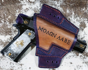 Molon Labe IWB and or Open Carry Ambidextrous Custom Leather Holster Multifunctional for 1911 Springfield XD Beretta M9 M&P Hand Made USA