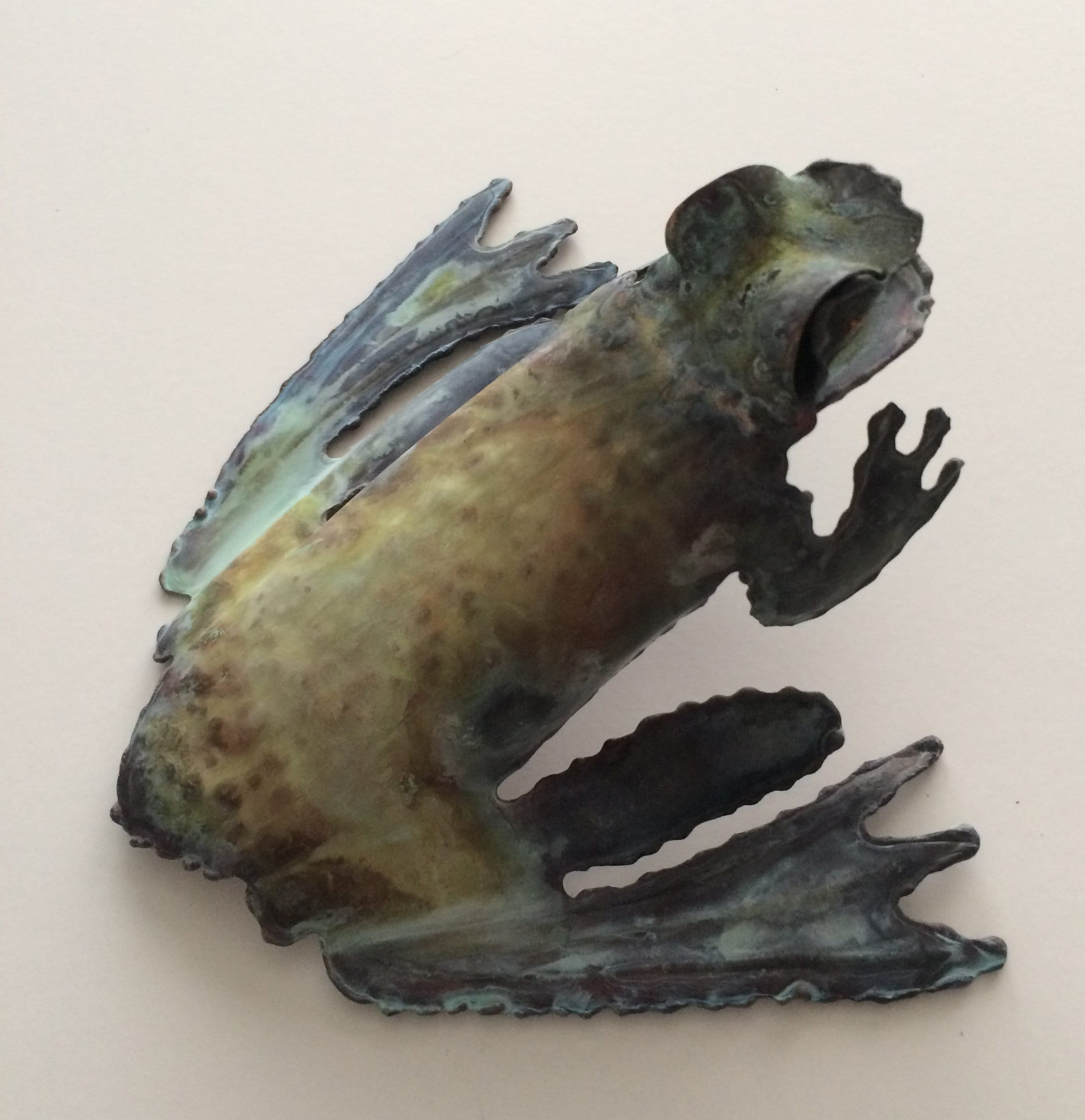 Copper Frog Metal Frog Country Home Wall Art Whimsical Hand