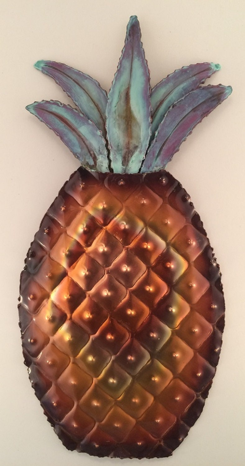 Copper Pineapple Hammered Metal Wall Art Kitchen Decor