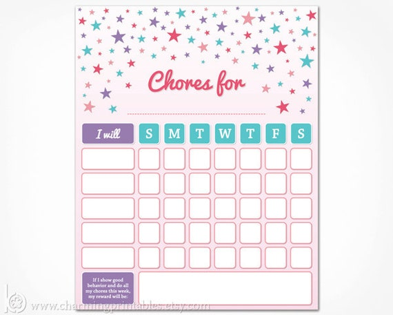 photo about Weekly Chore Chart Printable known as Chore Chart Printable for Youngsters - Prompt Down load Gals