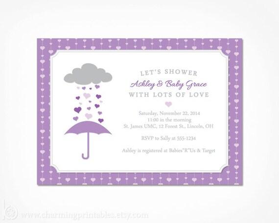 Rain Shower Invitation For Girl Purple Baby Shower Printable