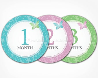 Butterfly Baby Month Stickers for Girls - PRINTABLE DIY - Instant Download - Blue, Purple, Green 1 - 12 Number Monthly Bodysuit Stickers