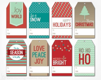 Printable Christmas Gift Tags - Digital PDF File - Instant Download Holiday Tag Template Gift Wrap - Merry Christmas Happy Holidays