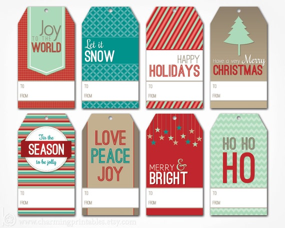 printable christmas gift tags digital pdf file instant etsy