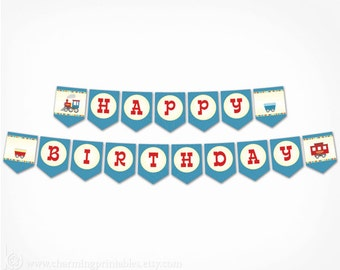 Train Birthday Banner -  PRINTABLE Instant Download PDF File Transporation Party Bunting Banner - Choo Choo I'm 2 Train Party Decoration