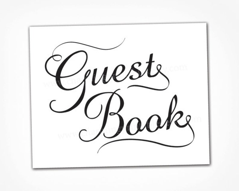 Black and White Wedding Guest Book Sign  INSTANT DOWNLOAD  image 0