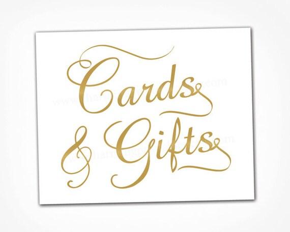 Gold Card Sign Wedding Printable Instant Download Gold Wedding