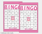 60 Baby Shower Bingo Cards - Printable Party Baby Girl