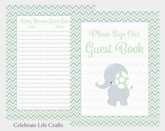 Table Sign PDF Download B3006 Green Gray Elephant Baby Shower Baby Shower Guest Book Sign and Guest List- Printable Guest Book Set