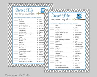 Sweet Life Baby Shower Game Printable Candy Bar Match Baby Etsy